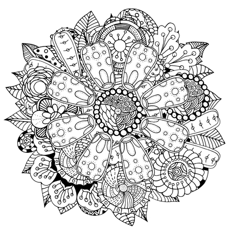 circle flower: Black and white circle flower ornament, ornamental round lace design. Floral mandala. Hand drawn ink pattern made by trace from personal sketch.