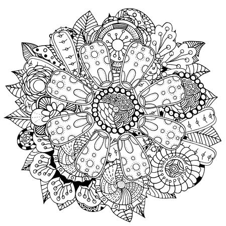 In bianco e nero cerchio fiore ornamento, il disegno del merletto rotondo ornamentale. Mandala floreale. modello inchiostro disegnata a mano fatta da traccia dallo schizzo personale.