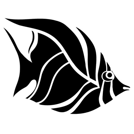fish type: Monochrome stylized Fish. Hand Drawn doodle vector illustration isolated on white background. Sketch for tattoo or makhenda. Sea food collection. Illustration