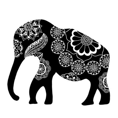 Black Indian elephant. Hand drawn doodle indian elephant with tribal ornament. Vector ethnic elephant.