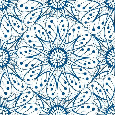 Blue seamless pattern. Design for dutch tile, background, textile