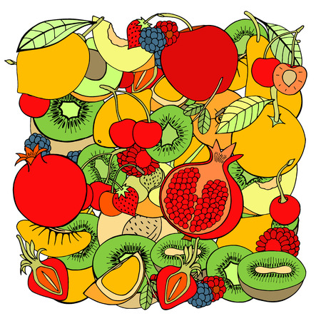 almacenero: pattern with set of sweet fruits and berries. Apples, kiwi, cherry. Food, fruit. Seamless texture. Doodle, cartoon drawing. Vector illustration Vectores