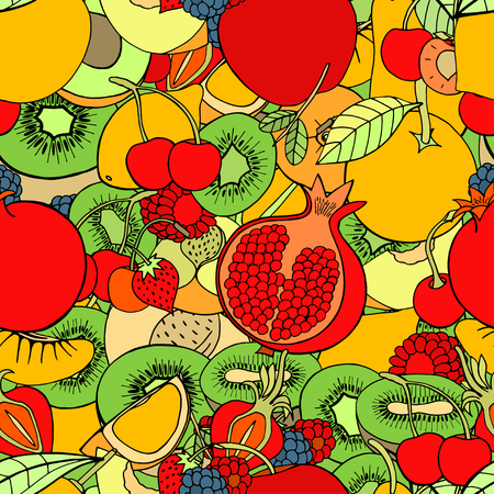 grocer: Seamless pattern with set of sweet fruits and berries. Apples, kiwi, cherry. Food, fruit. Seamless texture. Doodle, cartoon drawing. Vector illustration