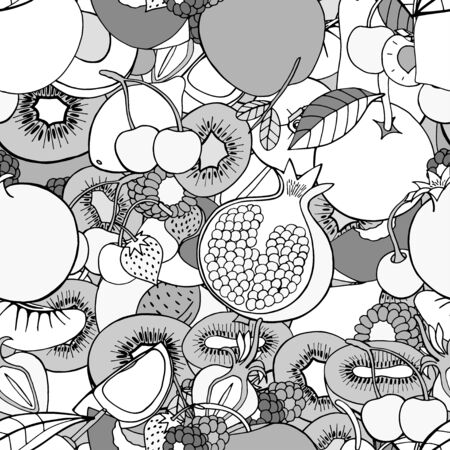 almacenero: Monochrome Seamless pattern with set of sweet fruits and berries. Apples, kiwi, cherry. Food, fruit. Seamless texture. Doodle, cartoon drawing. Vector illustration