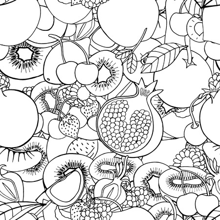 cartoon berries: Monochrome Seamless pattern with set of sweet fruits and berries. Apples, kiwi, cherry. Food, fruit. Seamless texture. Doodle, cartoon drawing. Vector illustration