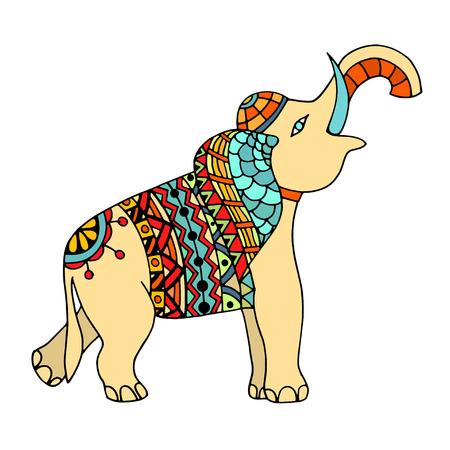 Regenbogen Farbkopf Von Elefanten In Der Abstrakten Ornament Für