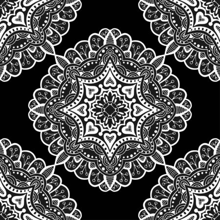 chinaware: Seamless floral pattern. Seamless floral pattern of circular ornaments. Black ornament of berries and flowers in the style of Chinese painting on porcelain. Vector illustration.
