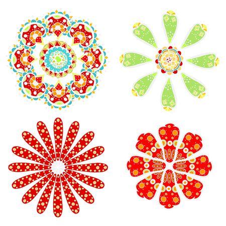 sketchy: set of sketchy monochrome doodle flowers and leafs. Vector illustration Illustration