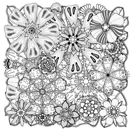Zentangle Floral étnico, Arte Del Círculo Del Modelo Del Fondo En El ...