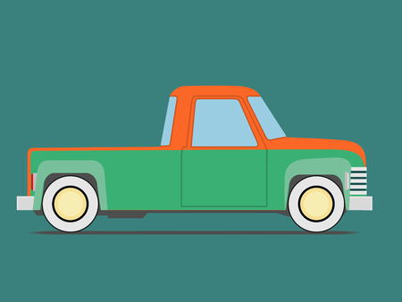 front wheel drive: Vintage car. Isolated on green background, Vector illustration