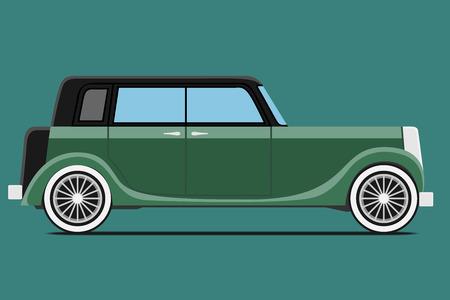 nostalgia: Vintage car. Isolated on green background, Vector illustration