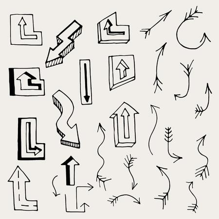 flechas direccion: Conjunto de flechas y líneas. Ilustración vectorial