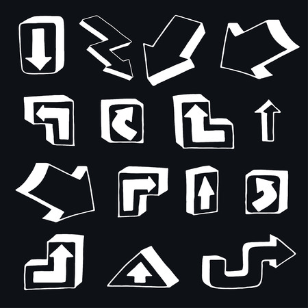 different ways: Set of Arrows and Lines. Vector illustration