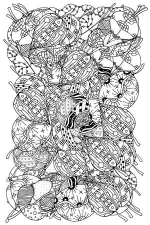 gente adulta: Modelo para el libro de colorear con hojas de otoño. Étnico,, retro, vector, elemento de diseño tribal floral. Fondo blanco y negro. Vectores