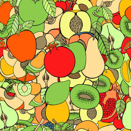 the fresh apple: Seamless pattern with set of sweet fruits and berries. Apples, watermelon, grapes, bananas, kiwi, cherry. Food, fruit. Seamless texture. Doodle, cartoon drawing. Vector illustration