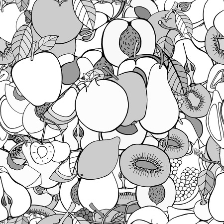 the fresh apple: Monochrome Seamless pattern with set of sweet fruits and berries. Apples, kiwi, cherry. Food, fruit. Seamless texture. Doodle, cartoon drawing. Vector illustration