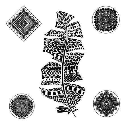 mandalas: Feather and mandalas on a white background. Vintage, tribal, artistically drawn, zentangle, stylized feather. Sketch by trace. Pattern for coloring book.