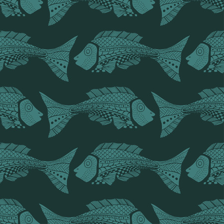 Seamless of fish background. Vector illustration image  イラスト・ベクター素材