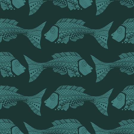 Seamless of fish background. Vector illustration image Çizim