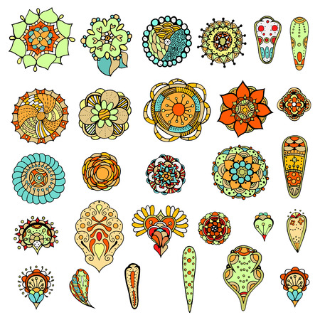 dingbats: Set of abstract flowers, leafs and paisley elements in Indian mehndi style. Hand drawn floral doodles. Orient traditional background design. Ethnic pattern. Vector illustration.