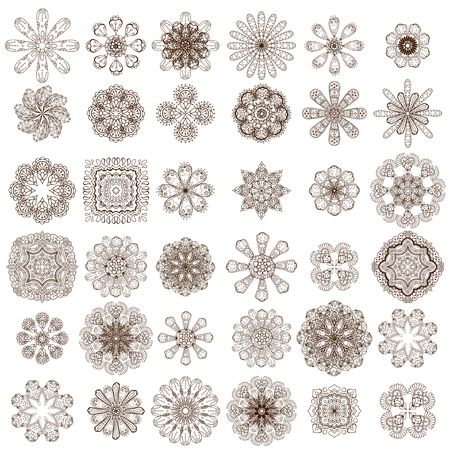 indian traditional: Monochrome Set of abstract flowers, leafs and paisley elements in Indian mehndi style. Hand drawn floral doodles. Orient traditional background design. Ethnic pattern. Vector illustration.