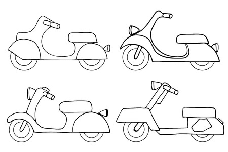 moped: Monochrome Vector set scooters. vintage model scooter. Retro hand sketched moped illustration.