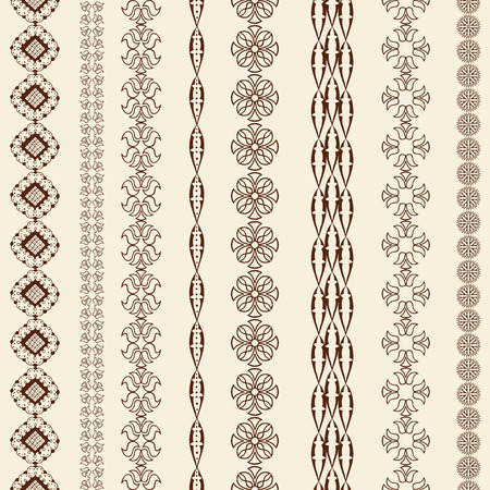 tattoo traditional: Indian Henna Border decoration elements patterns in brown colors. Popular ethnic border in one mega pack set collections. Vector illustrations. Could be used as divider, frame, etc