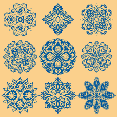 had: Round geometric ornaments set of had drawn doodle mandalas. Circle lace ornament, round ornamental geometric doily pattern collection. Blue and yellow Illustration