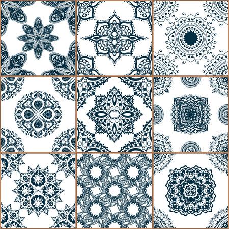 인디고 블루 타일 바닥 장식 컬렉션입니다. 전통적인 그린 주석 유약 세라믹 tilework를 빈티지 그림에서 화려한 원활한 패치 워크 패턴입니다. 웹 페이