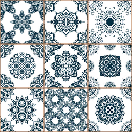 Indigo blue Tiles Floor Ornament Collection. Gorgeous Seamless Patchwork Pattern from Traditional Painted Tin Glazed Ceramic Tilework Vintage Illustration. For web page template background Vettoriali