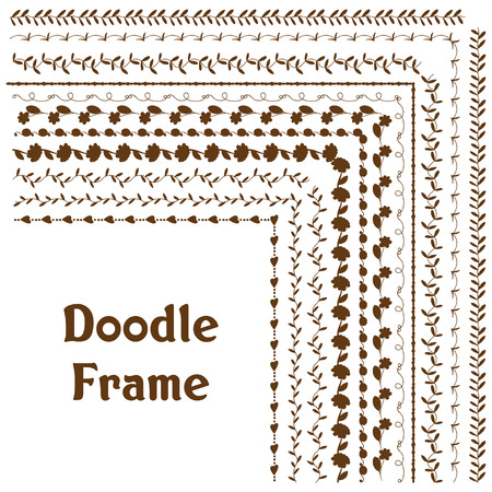 Set of Hand drawn vector frame doodle. design element. Isolated on white background