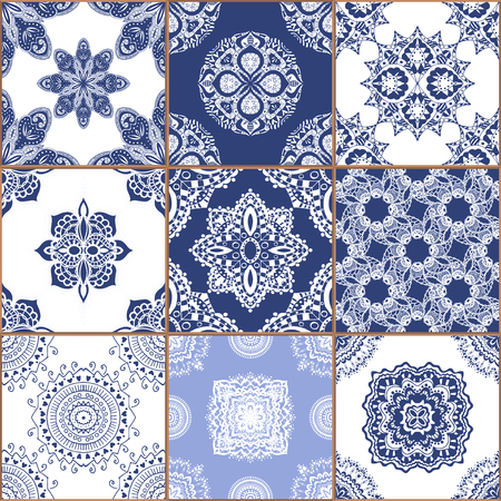 glazed: Indigo blue Tiles Floor Ornament Collection. Gorgeous Seamless Patchwork Pattern from Traditional Painted Tin Glazed Ceramic Tilework Vintage Illustration. For web page template background Stock Photo