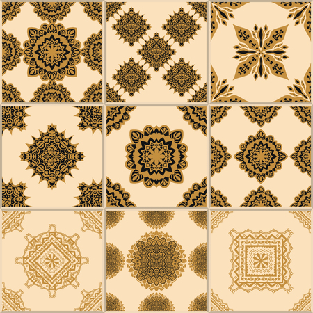 glazed: Indigo yellow Tiles Floor Ornament Collection. Gorgeous Seamless Patchwork Pattern from Traditional Painted Tin Glazed Ceramic Tilework Vintage Illustration. For web page template background Illustration