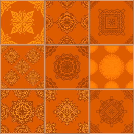 glazed: Indigo orange Tiles Floor Ornament Collection. Gorgeous Seamless Patchwork Pattern from Traditional Painted Tin Glazed Ceramic Tilework Vintage Illustration. For web page template background