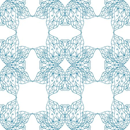 national fruit of china: Seamless abstract floral pattern. Seamless pattern of circular ornaments. Blue ornament of berries and flowers in the style of Chinese painting on porcelain. Vector illustration. Illustration