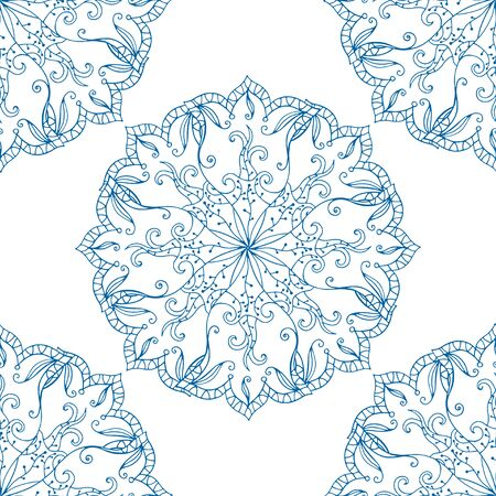 chinaware: Seamless abstract floral pattern. Seamless pattern of circular ornaments. Blue ornament of berries and flowers in the style of Chinese painting on porcelain. Vector illustration. Illustration