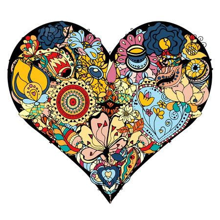 dessin coeur: Coeur dessiné à la main des fleurs doodle fond. Vector illustration
