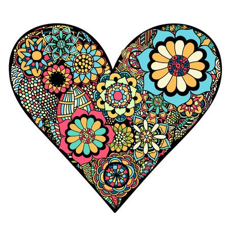 Coeur dessiné à la main des fleurs doodle fond. Vector illustration