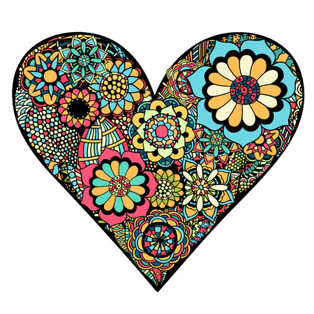 flower line: Hand drawn Heart of flower doodle background. Vector illustration