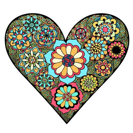 dessin fleur: Coeur dessin� � la main des fleurs doodle fond. Vector illustration