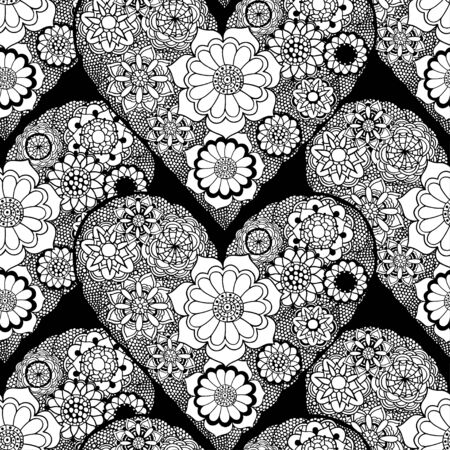 sketchy: Seamless grayscale Sketchy Doodle Heart Swirls Vector Illustration background