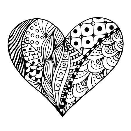 Hand Grau Herzen In Zentangle Art Gezeichnet Muster Für Malbuch