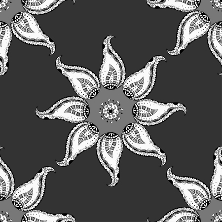 oriental rug: Oriental monochrome ornament. Seamless vector ornate background. Beautiful pattern of mandalas. Template for rug. Illustration