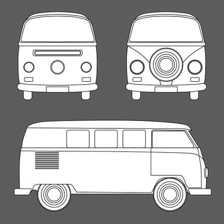 woodstock: Monochrome Vector illustration of a retro travel van Illustration