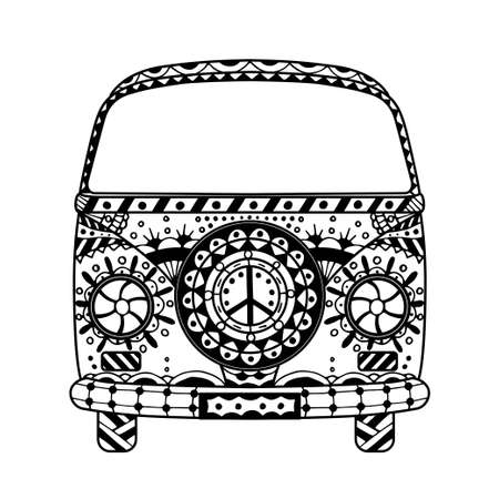 mini van: Vintage car a mini van in style. Hand drawn image. Monochrome vector illustration. The popular bus model in the environment of the followers of the hippie movement. Illustration