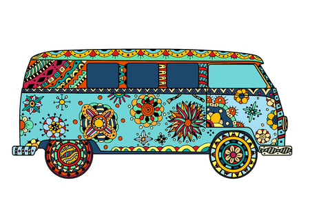 Vintage car a mini van in style. Hand drawn image. The popular bus model in the environment of the followers of the hippie movement. Vector illustration. Vettoriali