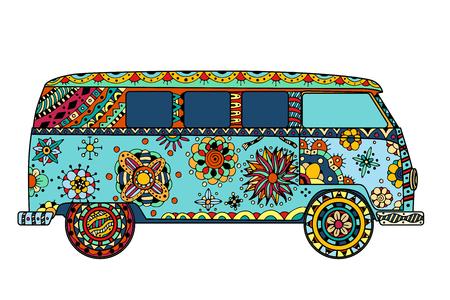 signo de paz: coches de época una mini furgoneta con estilo. Dibujado a mano la imagen. El modelo de autobús popular en el entorno de los seguidores del movimiento hippie. Ilustración del vector.