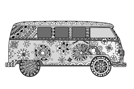Voiture ancienne d'un mini-van dans le style. Image tirée par la main. Monochrome illustration vectorielle. Le modèle de bus populaire dans l'environnement des adeptes du mouvement hippie.