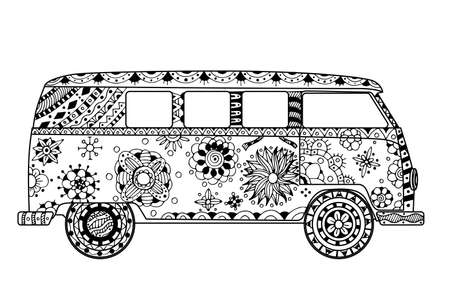 60s hippie: Vintage car a mini van in   style. Hand drawn image. Monochrome vector illustration. The popular bus model in the environment of the followers of the hippie movement. Illustration