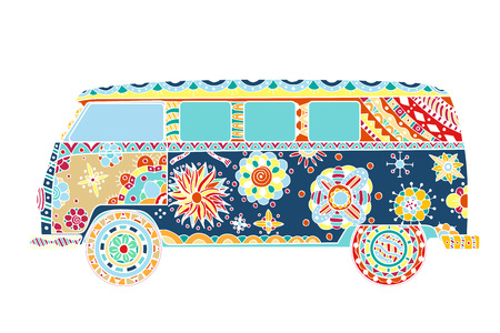 60s hippie: Vintage car a mini van in   style. Hand drawn image. The popular bus model in the environment of the followers of the hippie movement. Vector illustration.